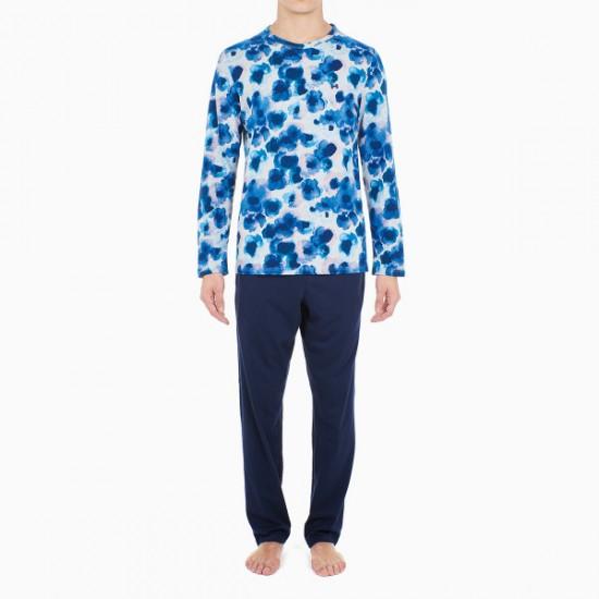 Offering Discounts Aqua Flower Long Sleepwear