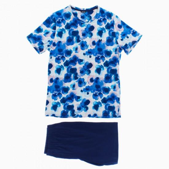 Offering Discounts Aqua Flower Short Sleepwear