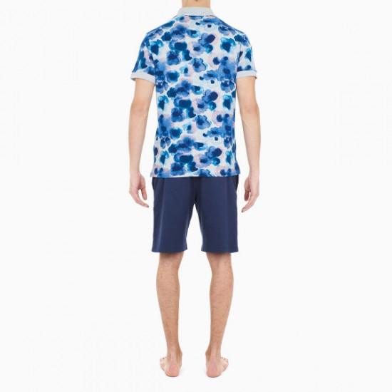 Discount Sale Aqua Flower Short Sleeve Poloshirt